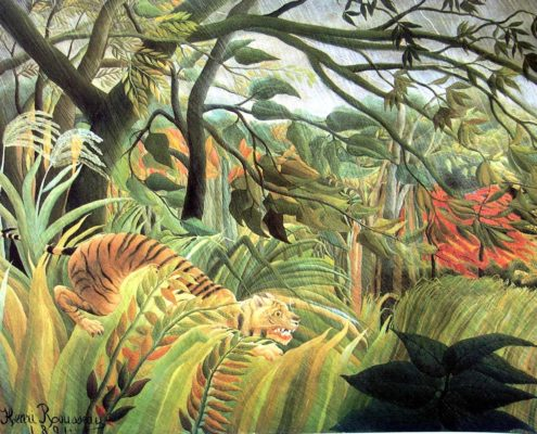Tiger in a Tropical Storm or Surprised! by Henri Rousseau